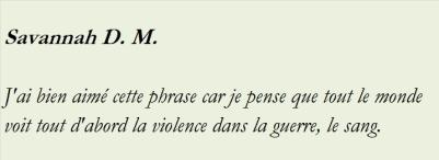 AVANT DE RENCONTRER NO JE CROYAIS QUE LA VIOLENCE ETAIT DANS LES CRIS LES COUPS LA GUERRE ET LE SANG-com12