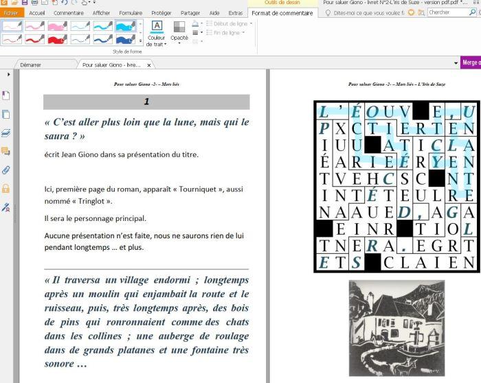 Pour saluer Giono - livret N°2-L'iris de Suze - pages 3 et 4 - solution début-opacité