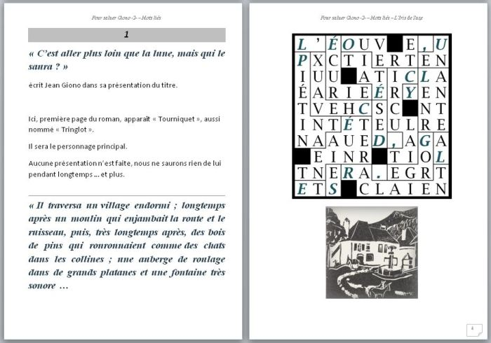 Pour saluer Giono - livret N°2-L'iris de Suze - pages 3 et 4