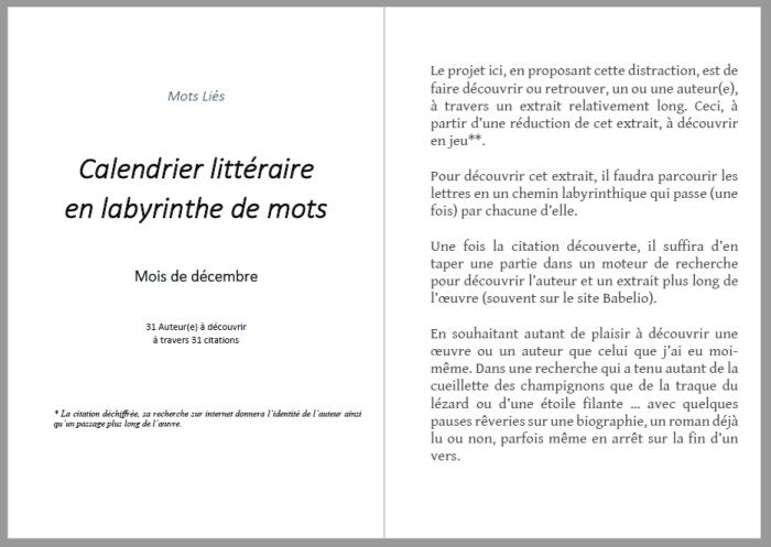 Calendrier littéraire en mots liés - 1-2